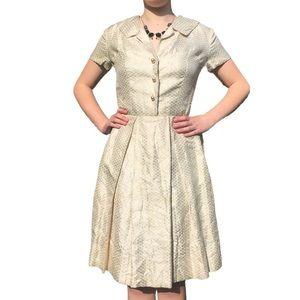 TRUE VINTAGE Metallic Gold Swing Dress